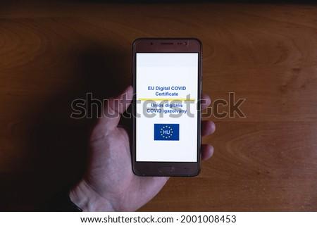 EU Digital COVID Certificate, EU Digitális Vacina Útlevél Stock fotó ©