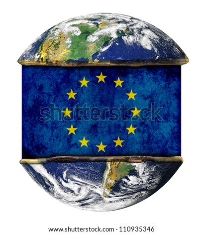 EU earth globe flag. Elements of this image furnished by NASA.
