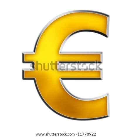 EU Euro symbol in shiny yellow gold isolated on white