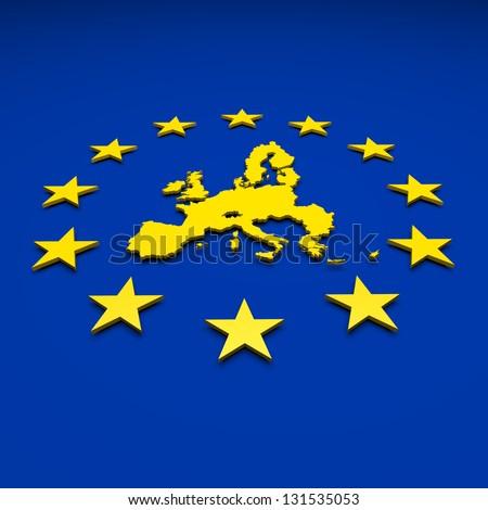 Eu, europe union, map - stock photo