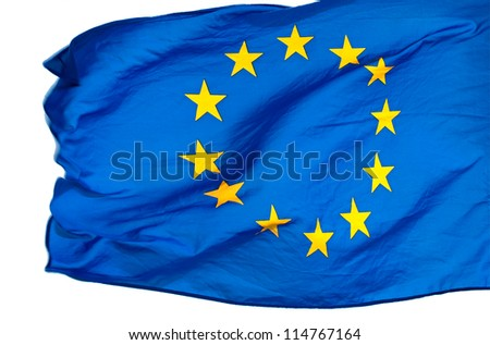 EU flag in the wind on a white background