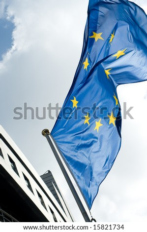 eu flag on sky background