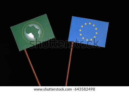 EU flag with African Union flag isolated on black background #643582498