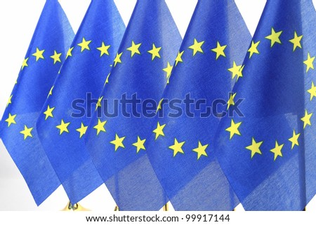 EU flags hanging in the queue of flagpole,Isolated on the white background