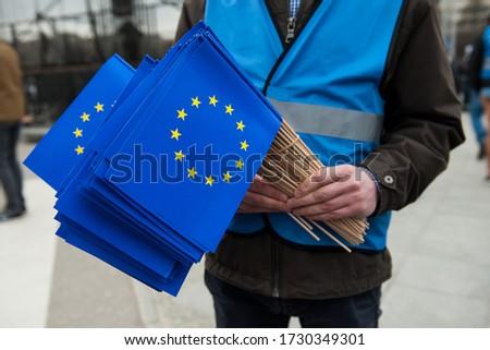 EU flags held in hand  Zdjęcia stock ©