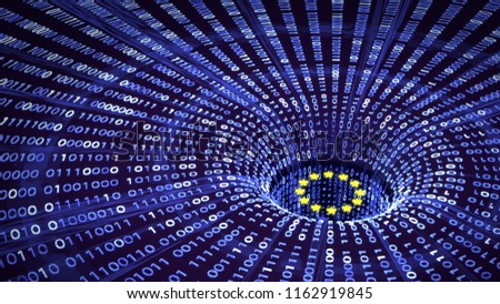 EU GDPR data bytes falling into a wormhole with EU stars. 3D illustration