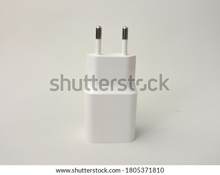eu type charger isolated in white background, mobile charger, phone charger Photo stock ©