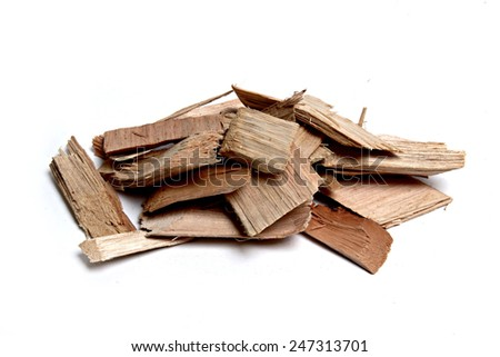 eucalyptus chips on white background