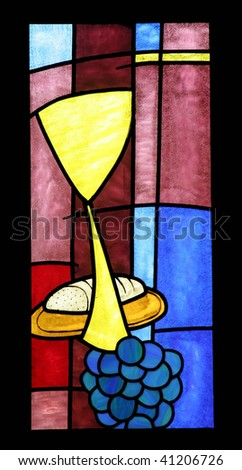 Eucharist, a bright and colorful stained glass window