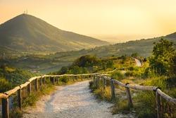 Euganean Hills yellow sunset Pianoro del Mottolone trail Padua colli euganei Italy Veneto region