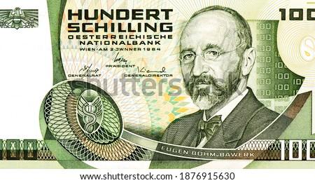 Eugen Bohm von Bawerk Portrait from Austria 100 Schilling 1984 Banknotes. Austrian economist Eugen Bohm von Bawerk (1851-1914). He was president of the academy of sciences from 1911.  Stock fotó ©