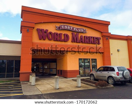 EUGENE, OR - DECEMBER 21: Cost Plus World Market store entrance on December 21, 2013 in Eugene, OR. Cost Plus World Market is a specialty import store located in 30 states.
