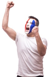 Euphoric scream of France football fan in win game of France national  team.  Big smile, scream, Hands over head on white background. European  football fans concept.