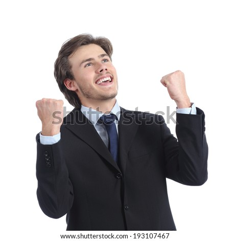 Euphoric successful businessman raising arms isolated on a white background