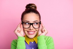 Eureka. Closeup headshot photo of cute brainy dreamy student girl look, hands hold glasses smiling distract teacher cheating exam wear glasses colored clothes bright pink color background