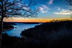 Eureka springs arkansas sunset at lake