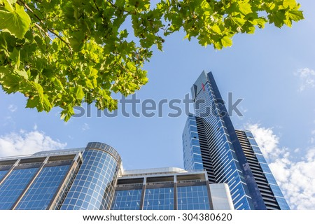 Eureka Tower Skydeck 88 on Southbank, look up from under tree in Summer daytime, Melbourne