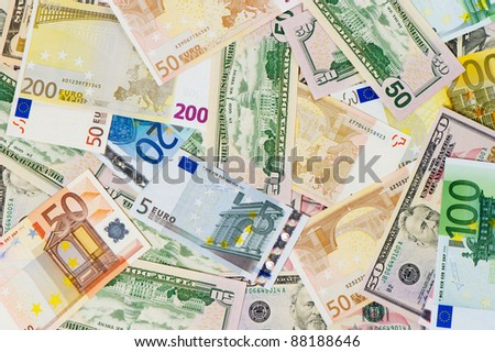 euro and dollar banknotes. money background. leading currencies