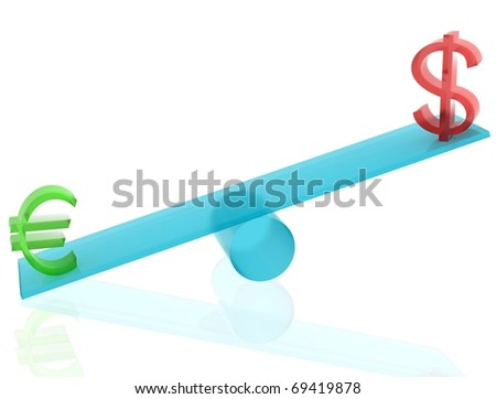 Euro and dollar on blue seesaw with white isolated background. 3D render.