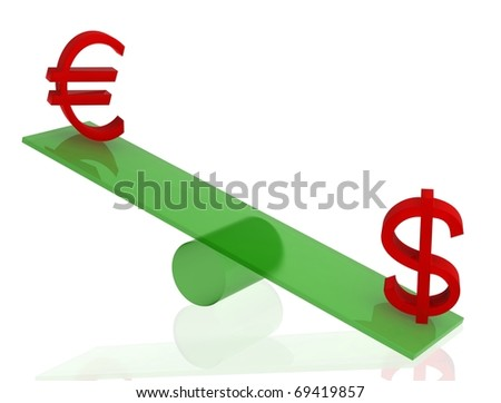 Euro and dollar on green seesaw with white isolated background. 3D render.