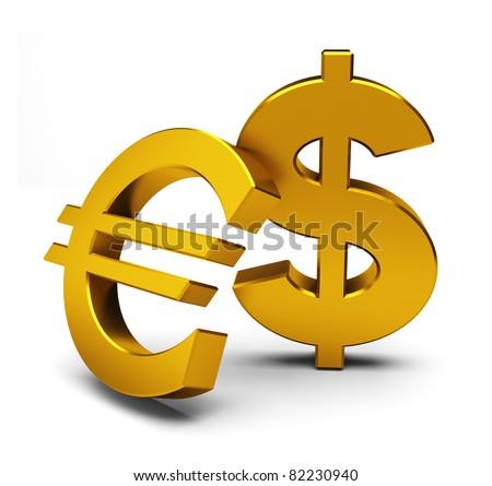 euro and dollar symbols
