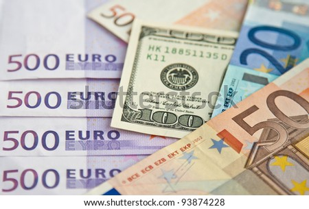 Euro and dollars banknotes: twenty, fifty, five hundred, one hundred