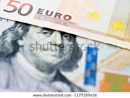 Euro and USD dollar bank note, currency exchange rate
