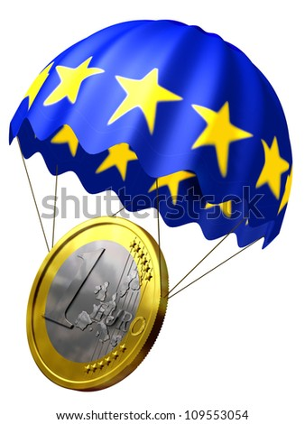 euro bail out, euro coin and bail out with europe flag