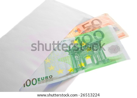 Euro bank notes in envelope. Isolated.