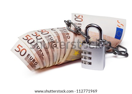Euro bank notes with a combination lock and chain track on the white
