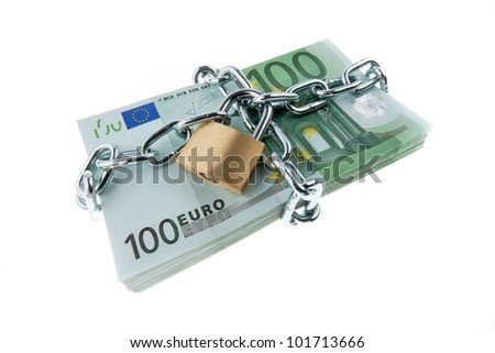 euro bank notes with a lock and chain. pile of money for security and investment.