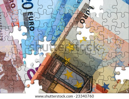 Euro bank notes with jigsaw puzzle effect - stock photo