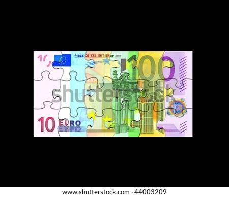 Euro Banknote Puzzle - stock photo