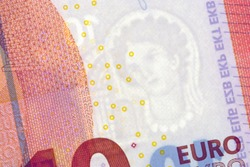 Euro banknote watermark, close up