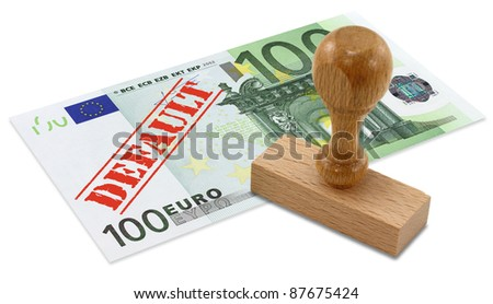 Euro banknote with the word DEFAULT stamped. European Union financial crisis concept.