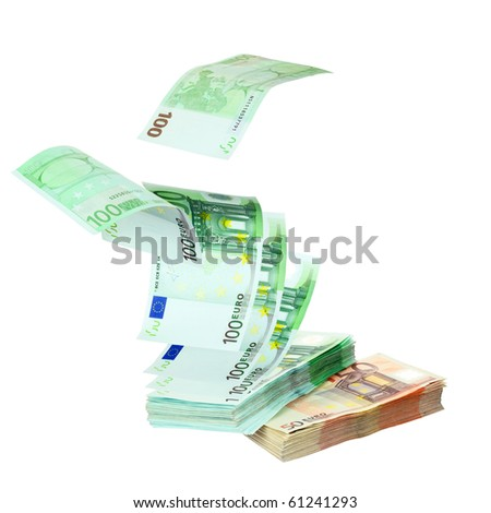 Euro banknotes falling on stack isolated on white