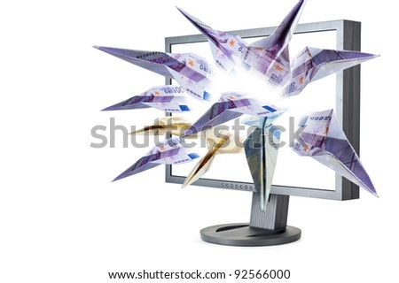 euro banknotes flying out screen monitor