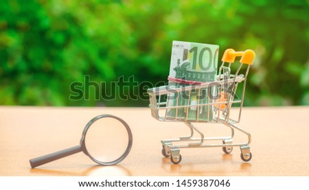 Euro banknotes in a shopping trolley and magnifying glass. The concept of finding sources of investment and sponsors. Find a money. Charitable funds. Startups and crowdfunding. Search for cheap loans #1459387046