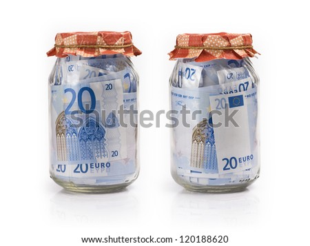 Euro banknotes in jars on white background