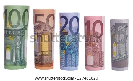 Euro banknotes isolated over a white background / euro money