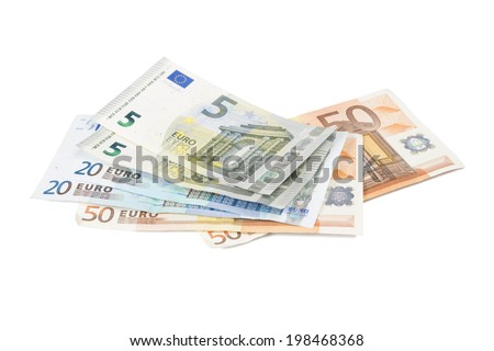 Euro banknotes isolated over white with clipping path. #198468368