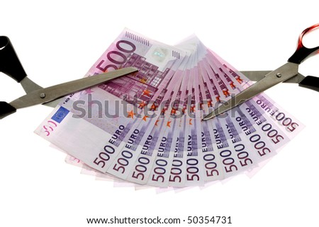Euro banknotes money and scissors