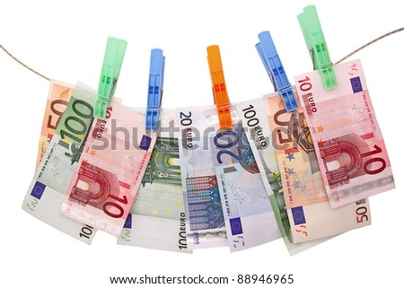 euro banknotes on clothesline #88946965