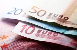 Euro banknotes. Selective focus.