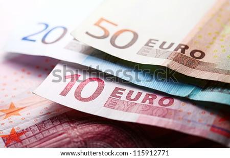 Euro banknotes. Selective focus. - stock photo