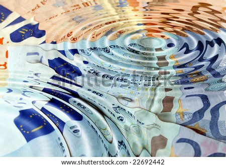 Euro banknotes underwater in a water pond