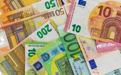 Euro banknotes, various denominations, scattered, top view