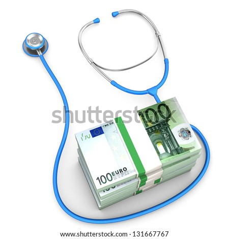 Euro banknotes with blue stethoscope on the white background.