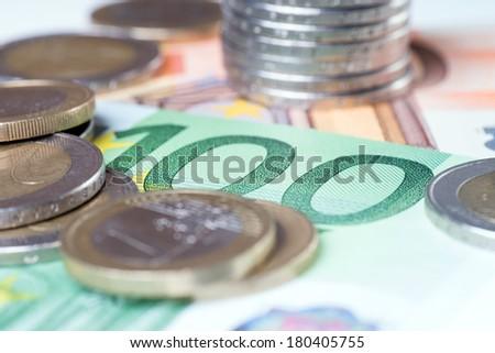 Euro Banknotes with euro coins / Euro Money