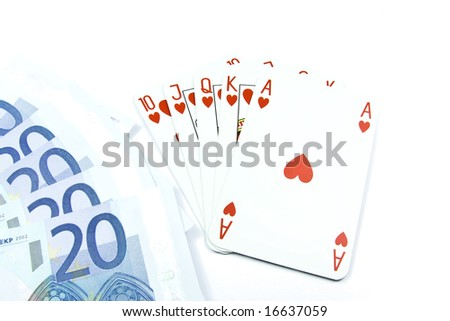 Euro banknotes with face value 20 and holdem poker cards